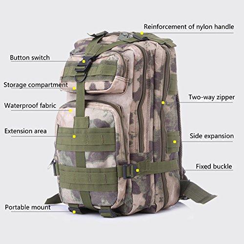 Fulanda zaino sport outdoor zaino tattico camouflage borsa per campeggio viaggio escursionismo, unisex, Khaki Desert Digital