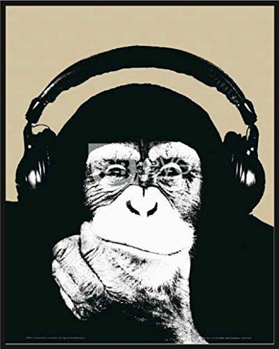 Steez - Monkee DJ Chimp - Mini Poster Foto Affen - Grösse 40x50 cm + Wechselrahmen, Shinsuke® Maxi Kunststoff schwarz, Acryl-Scheibe