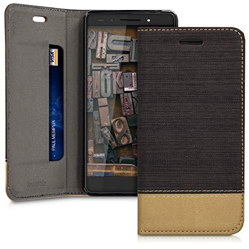 kwmobile Huawei Honor 7 / Honor 7 Premium Hülle - Stoff Handy Cover Case mit Ständer - Schutzhülle für Huawei Honor 7 / Honor 7 Premium