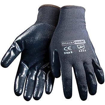 12 Pairs Of Blackrock BLACK NITRILE Super Grip Glove Size 8 Medium
