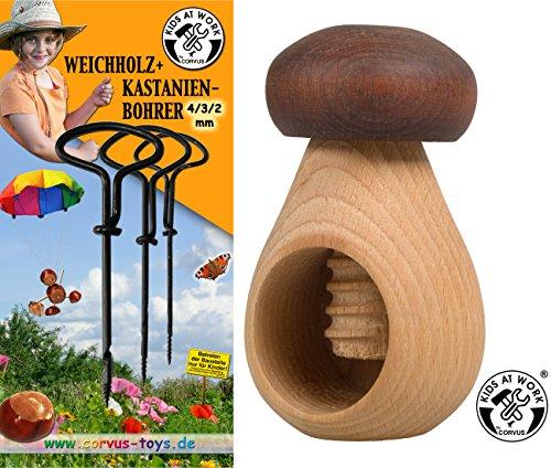 Corvus Kastanien-Bohrer 600071 mit Kastanien-Halter 600075 als Bastel-Set (Bohrer Spielzeug Mit)