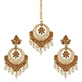 #10: Meenaz Traditional Gold Pearl Fancy Party wear Stylish Wedding Kundan Mang (Maang) Tikka (Tika) Earrings For Women/Girls Jewellery Earring Ear Rings For Girls Women Earring Necklace Jewellery,MT-129