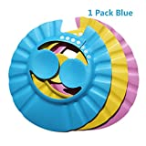 Baanuse Visière Bain Bébé Douche Casquette Anti Shampoing Enfant Bonnet Protection Yeux, Bleu