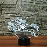 Illusion Lampe LED Nachtlicht,Cooles Reiten Pferd 3D Nachtlicht Instrumente Lampe 7 Farben LED USB 3D Illusion Lampe Für Wohnkultur Für Kinder Spielzeug Geschenk
