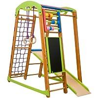Centro de actividades con tobogán ˝Junior-Plus˝, red de escalada, anillos, escalera sueco, campo de juego infantil
