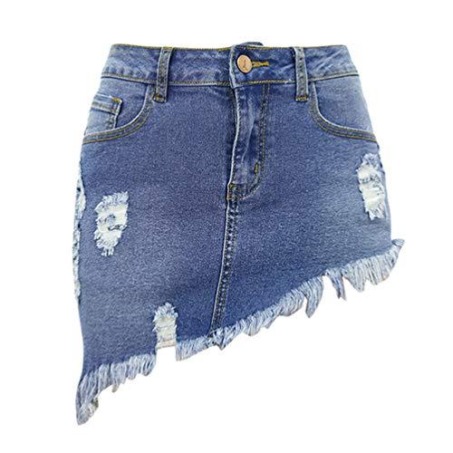 WanYangg Mujeres Verano Falda Vaquera Botón Mezclilla Mini De Mezclilla Corto Encantador Falda Cintura Alta Elástica Lápiz Falda 2#Azul