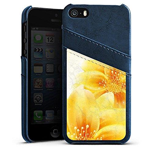 Apple iPhone 5s Housse étui coque protection Fleurs Fleurs Plante Étui en cuir bleu marine