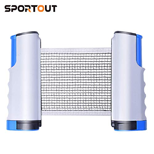 Sportout Tischtennisnetze Tischtennis Netze, Justierbarer Einziehbares Netz Ping Pong Ersatznetz, Beweglicher Reisehalter ideal für alle Arten von tischen- Einstellbare Länge 170(max) x 19cm -