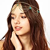 Sannysis 1 Pc Unique Turquoise Chain Jewelry Headband Party Headpiece Hair Band For Girls