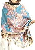 Sciarpa Donna Lungo Sciarpe Leggero E Morbido Miscela Di Cotone Scialle Wrap Donne Warm Modello Stole Primavera Autunno Inverno Cinque fiori dorati blu cielo