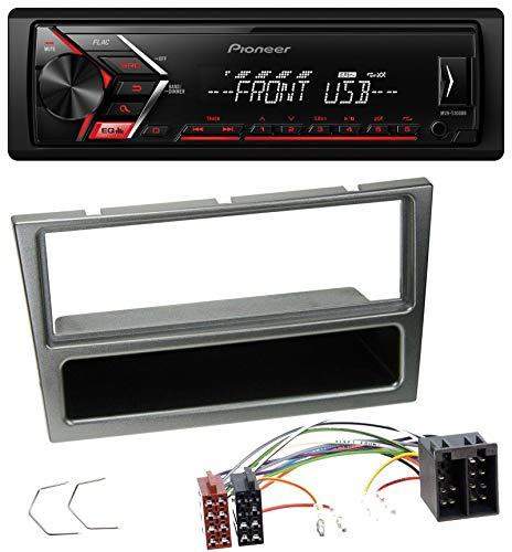 caraudio24 Pioneer MVH-S100UB USB AUX MP3 1DIN Autoradio für Opel Corsa C ISO 2000-2004 Aluminium (Auto-cd-player-lautsprecher-combo)