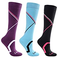 Laulax 3 Pairs Ladies Long Hose Cashmere-Like Ski Socks, Size UK 3-7 / Europe 36-40, Gift Set, Purple, Blue, Black