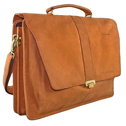 STILORD Vintage Umhängetasche groß Aktentasche Schultertasche 15,6 Zoll Laptoptasche - ideal für Büro Uni Arbeit Leder braun (Ranzen Leder)