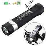 Fahrrad-Funk-Bluetooth-Lautsprecher Outdoor-Taschenlampe Wireless-Lautsprecher Portable Multifunktions-Fahrrad-Fackel 4 in 1 Aufladeeinheit MP3-Player FM Radio Freisprechmikrofon SOS-Licht (schwarz)
