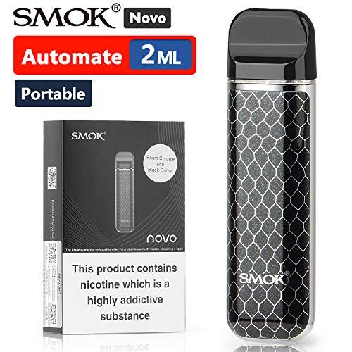 Offiziell SMOK Novo E Zigarette Starter Set, Open Pod System, 2x 2ml Nachfüllbare Schoten Verdampfer, Tragbare Vape mit 450mAh Akku, Aktivieren Sie beim Einatmen, Ohne liquid Ohne Nikotin - Schwarz -