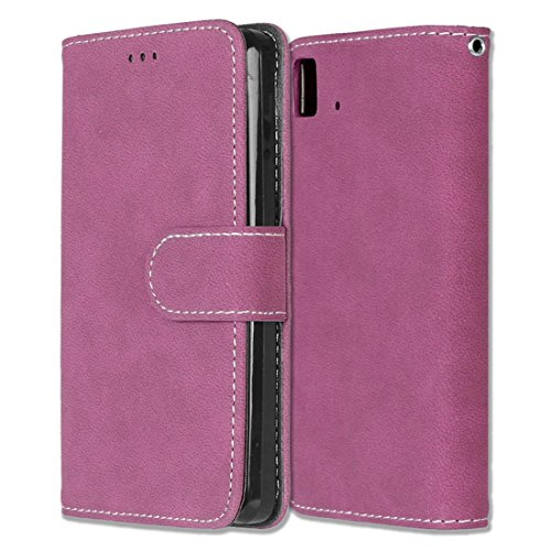 BQ Aquaris E4.5 Hülle, Chreey Matt Leder Tasche Retro Handyhülle Magnet Flip Case mit Kartenfach Geldbörse Schutzhülle Etui [Rose Rot]