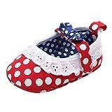 TOPKEAL Lindos Zapatos de Princesa con Nudo y Lunares de Lazo de Fondo Suave para Interiores para Bebés Niñas Rojo