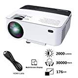 Proyector Portátil, Actualizado ExquizOn T5 2000 Lumens Mini Proyector LCD, 1080P LED Proyector Full HD, Multimedia Home Theater Video Proyector, HDMI USB Tarjeta SD AV VGA para Cine en Casa TV Juego iPhone Smartphone