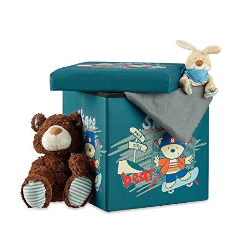 Relaxdays Sitzhocker für Kinder, faltbar, mit Stauraum, Aufbewahrungsbox mit Deckel, HxBxT 38 x 38 x 38 cm, Bär
