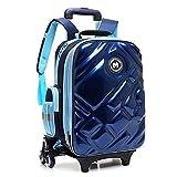 Eeayyygch Koreanische Art 3D Reflektierende Wasserdichte Rädern Rucksack Multifunktions Klettern Treppen Trolley Schultasche für Reisen Schule 6-12 Jahre alt (Farbe : Blau, Größe : -)