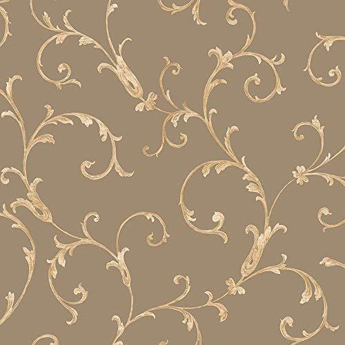 Metallic Scroll Wallpaper (Muriva Tapete 52.303,7cm Italian Style Acanthus Scroll Luxus Schwergewicht Wand einkleistern Tapete