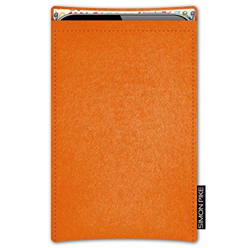 SIMON PIKE AppleiPhone 7 / 6 / 6S Filztasche Case Hülle 'Boston' in anthrazit1, passgenau maßgefertigte Filz Schutzhülle aus echtem Natur Wollfilz, dünne Tasche im schlanken Slim Fit Design für das iP orange Filz (Muster 12)