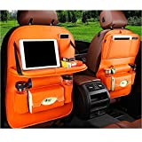 FJW Autositz-Organizer Autositzschutz Kick Mat Multifunctions Pockets Große Kapazität Auto Organizer mit Tablet-Halter,Orange