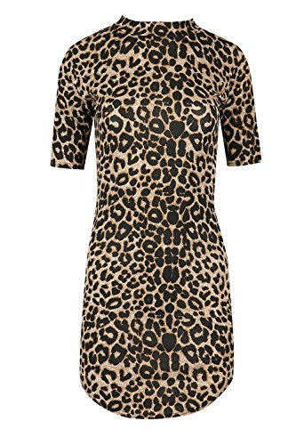 Oops Outlet Womens Floral Bedruckt Bodycon Damen Polo Hoch Rollkragen Kurzärmlig Halbrunder Saum Minikleid Leopard