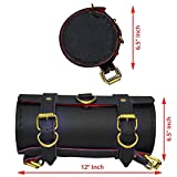 #8: AllExtreme Back Seat Round Mini Saddle Bag for Royal Enfield Motorcycles (Black, Medium )