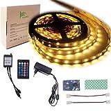 BIHRTC IP22 Nicht-wasserfest Warmweiß 2800-3000K 5630 SMD 5M/16.4ft 300 LED Streifen Stripe Licht Lichtband Lichtstreifen Set Kit mit Fernbedienung 24 Tasten und 12V 3A CE-Zertifizierung Netzteil