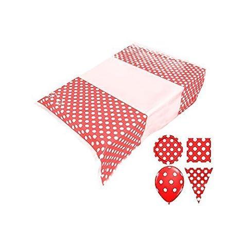 Fête D'enfants Pois Set (Ballons, Assiettes En Papier, Serviette, Bruant, Nappe) - Rouge