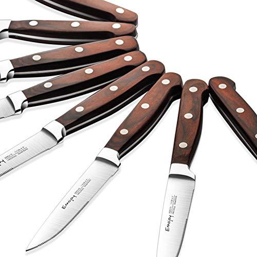 Emojoy Couteau à Steak, Couteaux de Table Premium, Lot de Couteaux de Cuisine 8 pièces, Inoxydable Couverts à Steak avec Lame et Ergonomique des Deux Côtés Manche en Bois Pakka