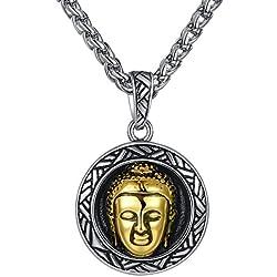 Aoiy - Collar con colgante de acero inoxidable, Buda, color dorado, Unisexo, cadena de 61cm, hhp005ji