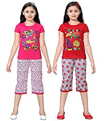 Sinimini Girls Printed Capri Set (Pack Of 2) (ATIGR555RP BK RP T 5F666R RD T 7-8Y)