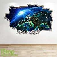1Stop Graphics Shop PLANET EARTH SPACE WALL STICKER 3D LOOK - MOON GALAXY STARS BOYS BEDROOM Z662
