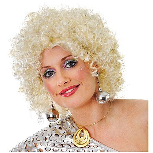 Glitzernde Afro Perücke Blond/Silber 70-er Disco Afrolook Lockenperücke