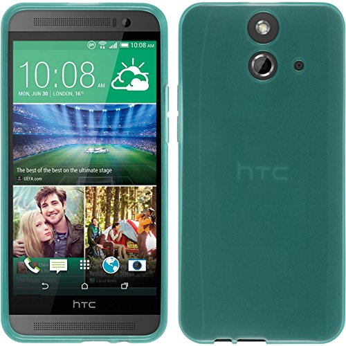 PhoneNatic Case kompatibel mit HTC One E8 - türkis Silikon Hülle transparent + 2 Schutzfolien