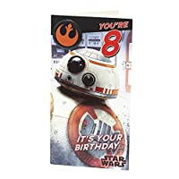 Age 8 Birthday Card - Star Wars with Birthday Card with Birthday Badge, 8th Birthday, Star Wars BB8, Ideal Gift Card for Kids - Star Wars Episode 8