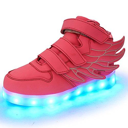 Fortuning's JDS Unisexe Enfant LED éclairé clignotant Sneakers USB Chargeur lumineux Chaussures filature Chaussures avec des ailes Rose