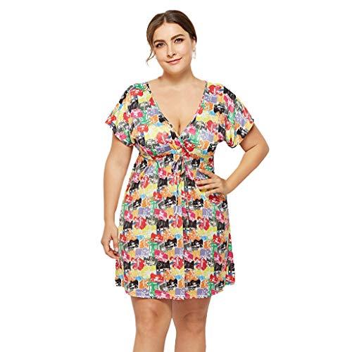 ff50b781561a Moonuy_ Women's V-Neck Print Large Size Dress Holiday Seaside Casual Beach  V-Neckline