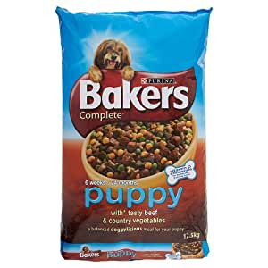Bakers Complete Puppy and Junior with Tasty Beef and Country Vegetables Dog Food, 12.5kg