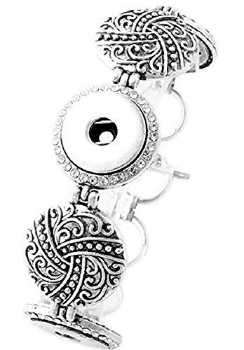 Pizazz Studios Strass Antik Silber Snap Charm Armband für 3Charms -