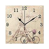 EZIOLY Bonjour Wanduhr Paris Tower Eiffel und Fahrrad romantisch, quadratisch, Nicht tickend, digital, leise Sweep, dekorative Uhren für Küche, Schlafzimmer, Wohnzimmer