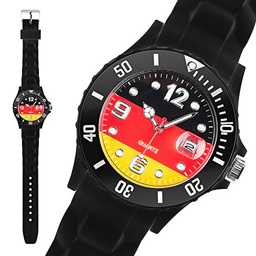 Taffstyle® Fanartikel Silikon Armbanduhr Gummi Trend Watch Quarz Fan Uhr mit Fussball Weltmeisterschaft WM & EM Europameisterschaft 2016 Länder Flaggen Style - Deutschland