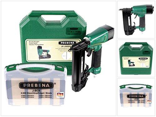Prebena 2P-J50SDS Luftdruck Druckluftnagler 5-7 bar im Transportkoffer + Prebena J-BOX 8.000 Stauchkopfnägel