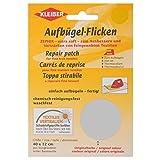 Kleiber - Toppa per riparazioni termoadesiva in cotone 40 x 12 cm per tessuti a maglia fine, grigio chiaro