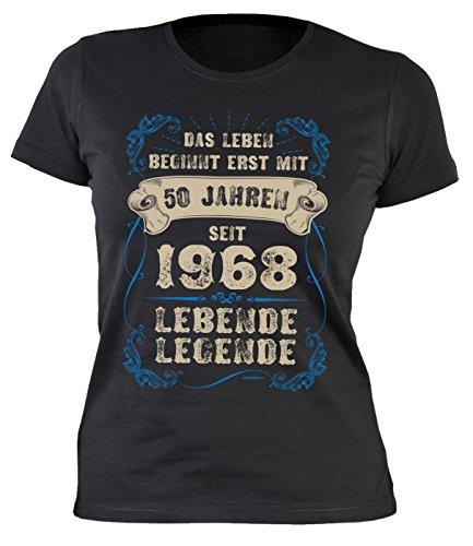 Sprüche/Girlie-Shirt/Geburtstags-Damen-Shirt/Spaß-Shirt: Das Leben Beginnt Erst mit 50 Jahren Seit 1968 Lebende Legende (Damen Leben Schnitt T-shirt)