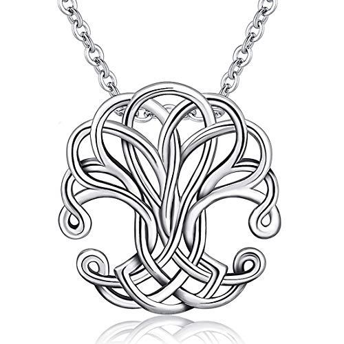 Baum des Lebens Halskette, Damen 925 Sterling Silber Leben auf Baum Anhänger mit 46 CM Kette, Feiner Schmuck von CELESTIA, Geschenke für Mütter Geburtstage mit box (Groß Schmuck-box,)