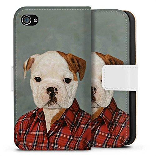 Apple iPhone X Silikon Hülle Case Schutzhülle Hund Dog Bulldogge Sideflip Tasche weiß