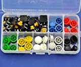 Electronics-Salon B3F-4055 Tactile Switch and 7 Color Button Cap Assortment Kit, 12x12x7.3mm Momentary. Color: Green Yellow Red Gray White Black Blue.